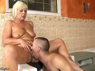 Tow-headed granny gets drilled unconnected with younger stud